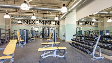 Work Out Center, Fitness Center, Weight Machines, Free weights, elliptical, treadmill, golf simulator, tanning