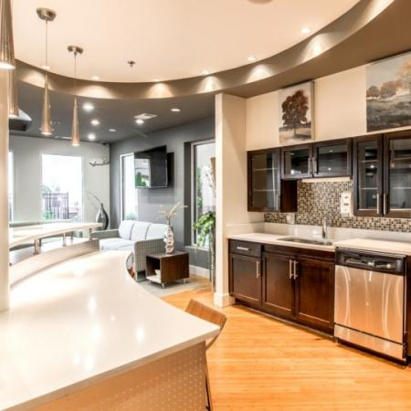 kitchen at campus crossings briarcliff clubhouse