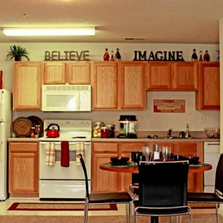 kitchen at campus crossings student aparmtents durham