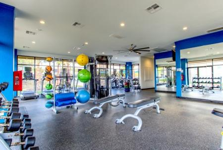 fitness center at student housing community