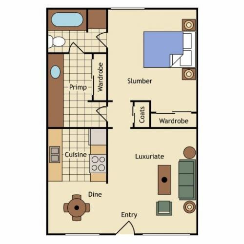1 Bdrm Floor Plan | Apartments Near UC Davis | University Court