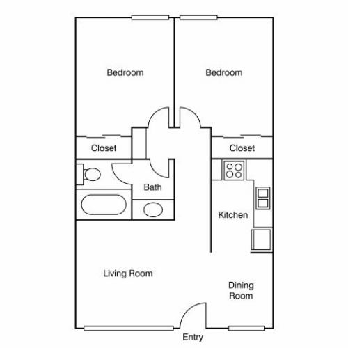 2 Bedroom Floor Plan | UC Davis Off Campus Housing | University Court