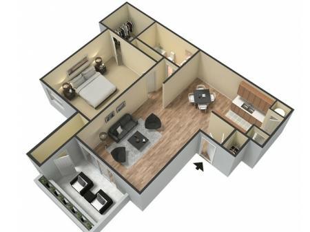 Floor Plan 1 | Sacramento Apartments | The Confluence