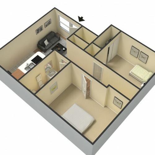 2 Bedroom Floor Plan | Luxury Apartments Bakersfield CA | Sunrise