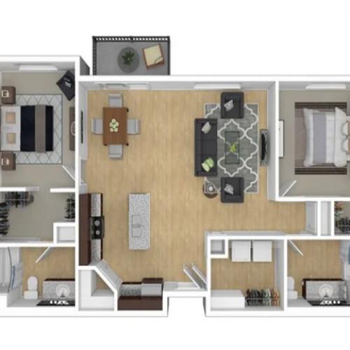 2 Bedroom Floor Plan