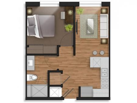1 Bedroom, 1 Bathroom w/Balcony