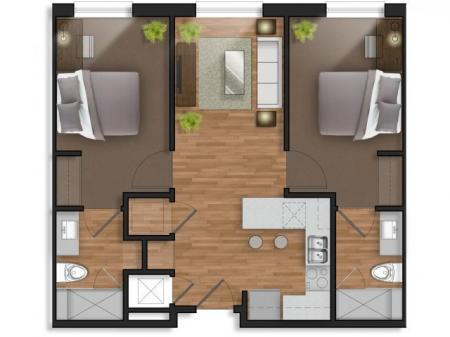 2 Bedroom,2 Bathroom