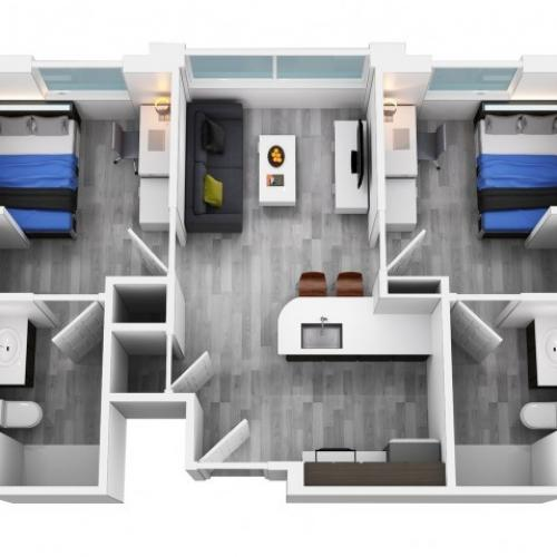 2 bedroom 2 bathroom floorplan