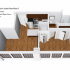 Crescendo Apartments, interior, floor plan cutaway view, left to right, living room, kitchen, bedroom (with laundry closet) and bathroom