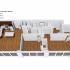Crescendo Apartments, interior, floor plan cutaway view, left open concept living room and dining room, center, bedroom, laundry, bathroom, right bedroom bathroom, walk in closet