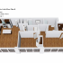 Crescendo Apartments, interior, floor plan cutaway view, kitchen and living room on the left, bedroom, bathroom, laundry center, bedroom, bathroom, walk in closet on right