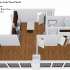 Crescendo Apartments, interior, floor plan cutaway view, living and kitchen on the left, bedroom and bathroom on the right