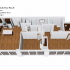 Crescendo Apartments, interior, floor plan cutaway view, open concept kitchen and living room on the left, center, bedroom with laundry and bathroom at back, right bedroom, bathroom, walk in closet