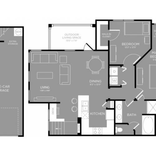 3D Floor Plan 7 | Little Elm TX Apartments | The Mansions 3Eighty