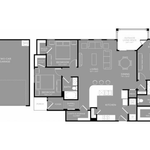 3D Floor Plan 10 | Apartments Little Elm | The Mansions 3Eighty