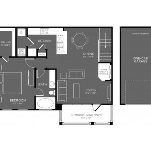 3D Floor Plan 7 | Conroe TX Apartments | The Mansions Woodland