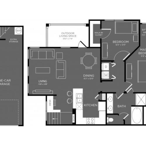 3D Floor Plan 9 | Apartments The Woodland TX | The Mansions Woodland