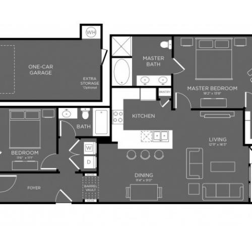 3D Floor Plan 10 | Apartments The Woodland TX | The Mansions Woodland
