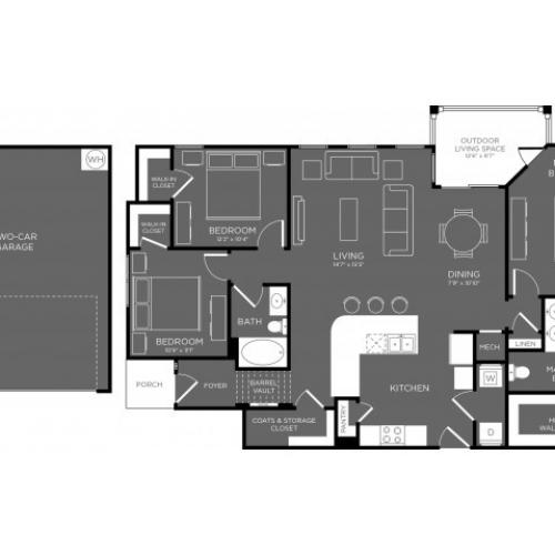 3D Floor Plan 12 | Apartments The Woodland TX | The Mansions Woodland
