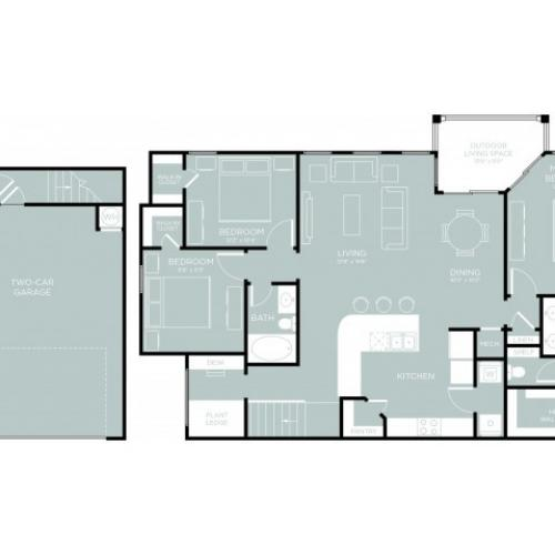 3D Floor Plan 13 | One Bedroom Apartments Austin | The Mansions at Lakeway
