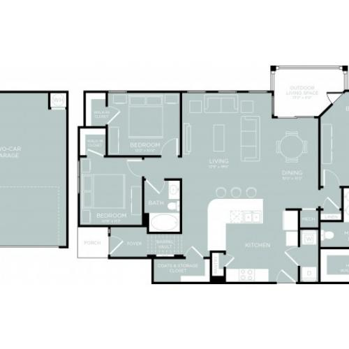 3D Floor Plan 12 | One Bedroom Apartments Austin | The Mansions at Lakeway