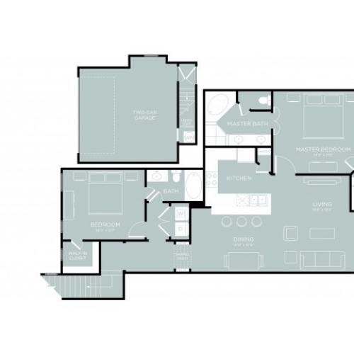 3D Floor Plan 11 | One Bedroom Apartments Austin | The Mansions at Lakeway