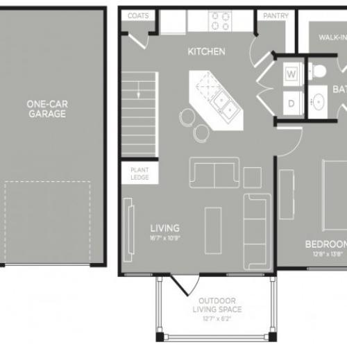 3D Floor Plan 3 | 2 Bedroom Apartments Austin | The Mansions at Lakeway