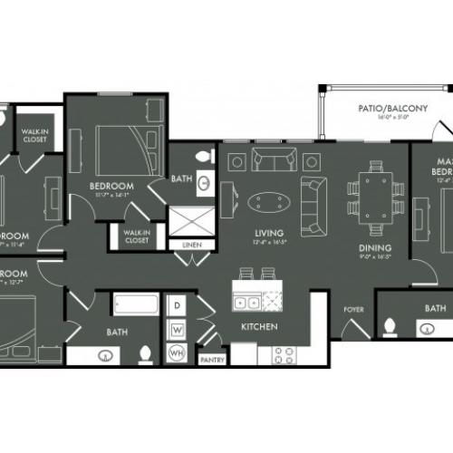 Floor Plan 10 | Magnolia TX Apartments | The Grand Estates Woodland