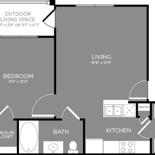 Floor Plan 1 Layout 2 | Aubrey TX Apartments | The Estates 3Eighty