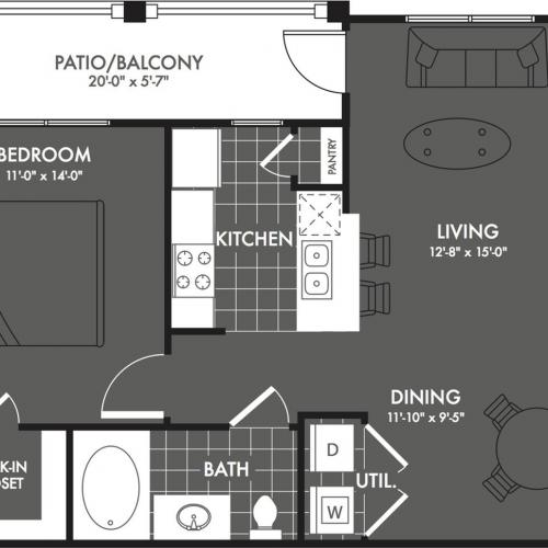 1 Bedroom Floor Plan | Luxury Apartments In San Antonio | The Estates at Briggs Ranch 1