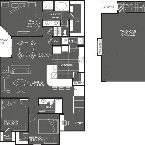 3 Bdrm Floor Plan | Luxury Apartments In San Antonio Texas | The Mansions at Briggs Ranch