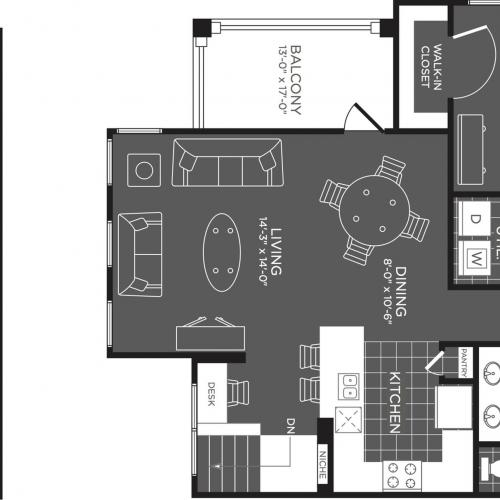 2 Bdrm Floor Plan | Apartments In San Antonio | The Mansions at Briggs Ranch