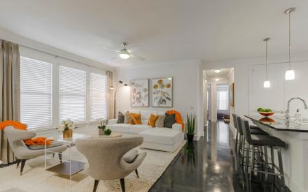 Residents Lounging in the Living Area | Apartments Seabrook TX | The Towers of Seabrook