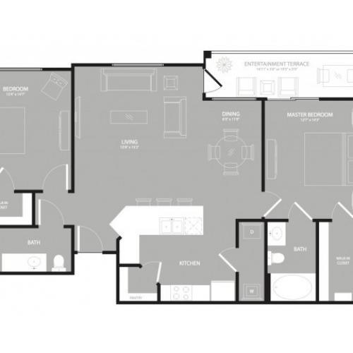 2 Bdrm Floor Plan | Apartments Garland TX | The Mansions at Spring Creek