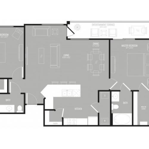 Floor Plan 2 | 3 Bedroom Apartments In Garland TX | The Mansions at Spring Creek