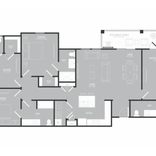 4 Bedroom Floor Plan   3 Bedroom Apartments In Garland TX   The Mansions at Spring Creek