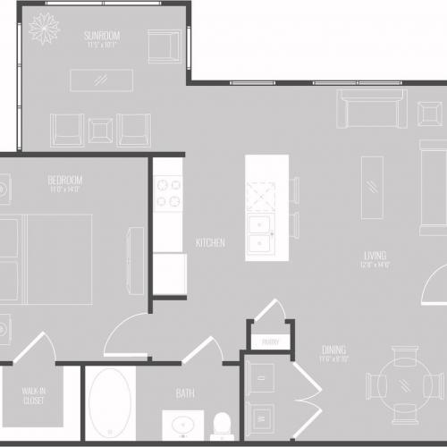 Floor Plan 1 | Apartments For Rent New Braunfels TX | The Luxe at Creekside