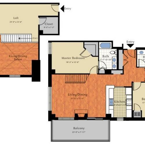 Floor Plan 7 | 2 Bedroom Apts In Lowell Ma | Grandview Apartments