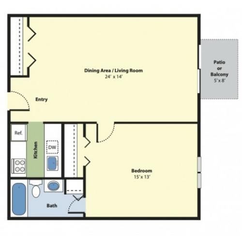 1 Bedroom Floor Plan | Apartments For Rent Marlborough MA | Princeton Green