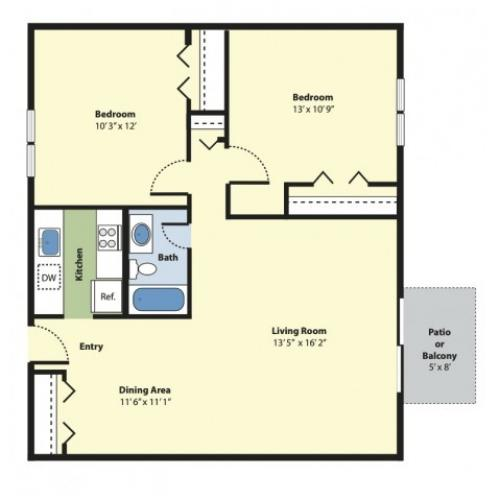 2 Bedroom Floor Plan | Apartments In Marlborough MA | Princeton Green