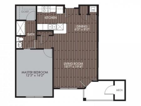 Floor Plan 1 | Apartments For Rent Chelmsford MA | Mill and 3 Apartments