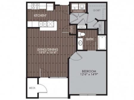 1 Bedroom Floor Plan | Apartments For Rent Chelmsford MA | Mill and 3 Apartments