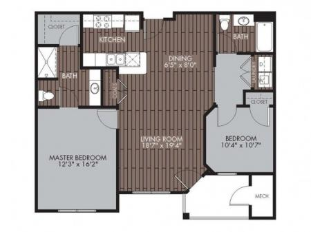 Floor Plan 2 | 2 Bedroom Apartments Lowell MA | Mill and 3 Apartments