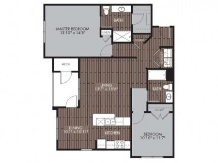 2 Bedroom Floor Plan | Apartments For Rent In Chelmsford MA | Mill and 3 Apartments