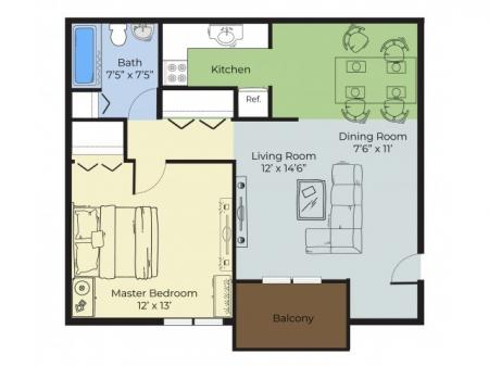 1 Bedroom Floor Plan | Apartments For Rent In Nashua Nh | Forest Ridge Apartments