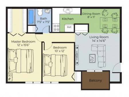 2 Bedroom Floor Plan | Apartments For Rent Nashua Nh | Forest Ridge Apartments