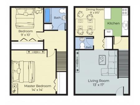 2 Bedroom Townhouse Floor Plan   Apartments For Rent Nashua Nh   Forest Ridge Apartments