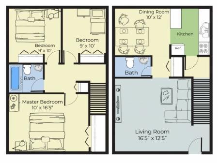 3 Bedroom Townhouse Floor Plan   Apartments Near Nashua Nh   Forest Ridge Apartments