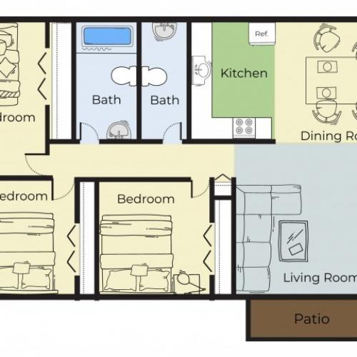 3 Bedroom Floor Plan | Apartments Near Haverhill Ma | Princeton Bradford Apartments