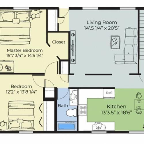 2 Bdrm Floor Plan | Apartment Buildings In Dover NH | Princeton Dover